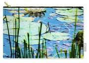 Painted North American White Water Lily Carry-all Pouch
