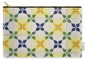 Painted Patterns - Floral Azulejo Tiles In Blue Green And Yellow Carry-all Pouch