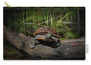 Painted Turtle Sunning Itself On A Log Carry-all Pouch