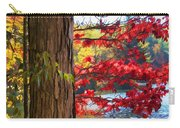 Painterly Rendition Of Red Leaves And Tree Trunk In Autumn Carry-all Pouch