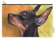 Painting Of A Cute Doberman Pinscher On Orange Background Carry-all Pouch