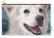Painting Of A White And Furry Alaskan Malamute Carry-all Pouch