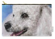 Painting Of A White Fluffy Poodle Smiling Carry-all Pouch