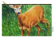 painting of young deer in wild landscape with high grass. Eye contact. Carry-all Pouch