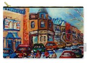 Paintings Of Montreal Hockey On Fairmount Street Carry-all Pouch