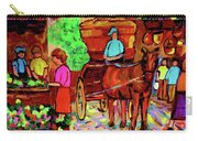 Paintings Of Montreal Streets Old Montreal With Flower Cart And Caleche By Artist Carole Spandau Carry-all Pouch