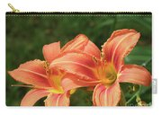 Pair Of Blooming Orange Lilies In A Garden Carry-all Pouch