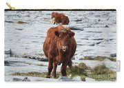 Pair Of Cows Grazing On The Burren In Ireland Carry-all Pouch