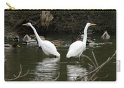 Pair Of Egrets Carry-all Pouch by George Randy Bass