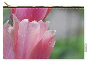 Pair Of Flowering Pink Tulips With Dew Drops Carry-all Pouch