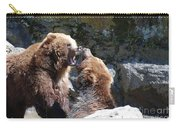 Pair Of Grizzly Bears Biting At Each Other Carry-all Pouch