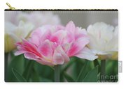 Pale Pink And White Parrot Tulips In A Garden Carry-all Pouch