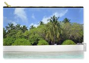 Palm Trees And Exotic Vegetation On The Beach Of An Island In Maldives Carry-all Pouch