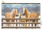 Palomino Quarter Horses In Snow Carry-all Pouch by Crista Forest