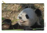 Panda Bear Showing His Teeth As He Munches On Bamboo Carry-all Pouch