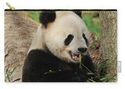 Panda Bear With Teeth Showing While He Was Eating Bamboo Carry-all Pouch