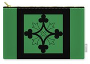 Panel - Black And Green Clover Style Greek Cross Carry-all Pouch