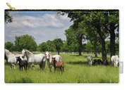 Panorama Of White Lipizzaner Mare Horses With Dark Foals Grazing Carry-all Pouch