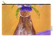 Pansies In Brown Vase Carry-all Pouch by Jamie Frier