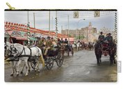 Parade Of Horse Drawn Carriages On Antonio Bienvenida Street Wit Carry-all Pouch