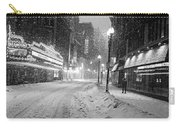 Paramount Snowstorm Boston Ma Washington Street Black And White Carry-all Pouch