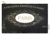 Paris Black And White Gold Typography Home Decor - French Script Paris Wall Art Home Decor Carry-all Pouch