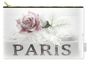 Paris Dreamy Pastel Pink Roses On Paris Book - Romantic Paris Roses And Books Shabby Chic Art Carry-all Pouch