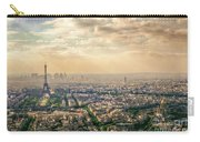 Paris Eiffel Skyline And Cityscape Aerial View At Sunset From Montparnasse Tower Observation Deck  Carry-all Pouch