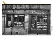 Paris France Book Store Library Black And White Carry-all Pouch
