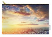 Paris, France Skyline, Panorama At Sunset. Eiffel Tower, Champ De Mars Carry-all Pouch