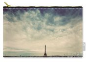Paris, France Skyline With Eiffel Tower. Dark Clouds, Vintage Carry-all Pouch