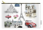 Paris Landmarks. Illustration In Draw, Sketch Style.  Carry-all Pouch
