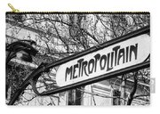 Paris Metro Sign Bw Carry-all Pouch