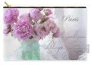 Paris Peonies - Parisian Pink Peonies Pink Aqua French Decor - Paris Floral Wall Art Home Decor  Carry-all Pouch