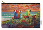 Parrots On Sunset Beach Carry-all Pouch