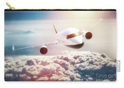 Passenger Airplane Flying At Sunset, Blue Sky. Carry-all Pouch