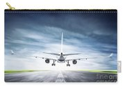 Passenger Airplane Taking Off On Runway Carry-all Pouch