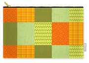 Patchwork Patterns - Orange And Olive Carry-all Pouch