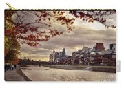 Pathway Along Kamo River In A Beautiful Dramatic Autumn Sunset S Carry-all Pouch