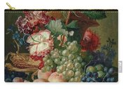 Paulus Theodorus Van Brussel - Still Life Of Flowers And Fruit On A Stone Ledge, Carry-all Pouch