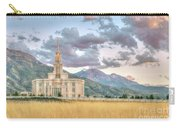 Payson Utah Lds Temple, Sunset View Of The Mountains And Grass Carry-all Pouch