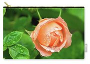 Peach Rose In The Rain Carry-all Pouch