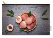 Peaches On A Dark Wooden Background Carry-all Pouch