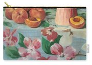 Peaches On Floral Tablecloth Carry-all Pouch