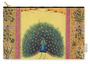 Peacock Dancing Painting Flower Bird Tree Forest Indian Miniature Painting Watercolor Artwork Carry-all Pouch