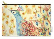 Peacock Hiding In My Poppy Garden Carry-all Pouch by Jennifer Lommers