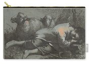 Peasant Boy Asleep Near Two Sheep Carry-all Pouch