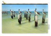 Pelicans On Pier Pilings Carry-all Pouch