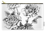 Pen And Ink Roses Carry-all Pouch