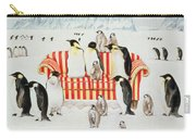 Penguins On A Red And White Sofa  Carry-all Pouch by EB Watts